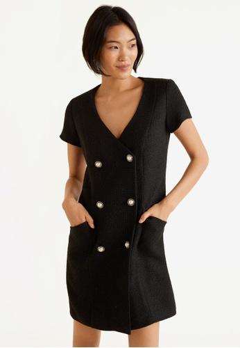 Mango black Buttons Tweed Dress 186C0AAAC0E9A7GS_1