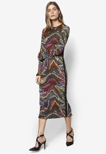 印花長esprit門市地址袖細褶連身裙, 服飾, 洋裝