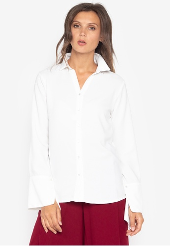 MEMO white Blouse with Flared Sleeves DF3AAAA68AEC0AGS_1