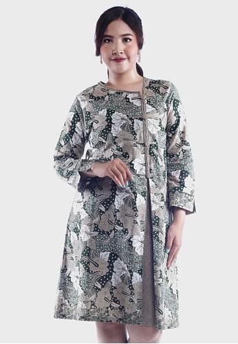 EAJA green and beige Sharmila Dress Batik Kerja Wanita 10DAAAA280F2C7GS_1