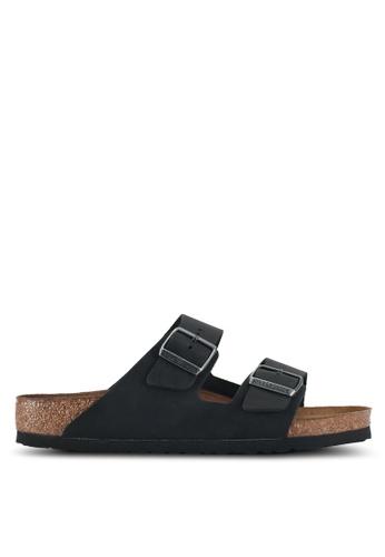 Birkenstock 黑色 Arizona Oiled Leather Sandals 8E567SHEA08786GS_1