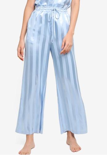 ZALORA BASICS blue Lounge Stripe Long Pants 55EE9AAE4ACA52GS_1