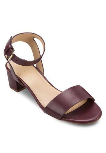 一字帶繞踝粗跟涼鞋, zalora退貨女鞋, 鞋