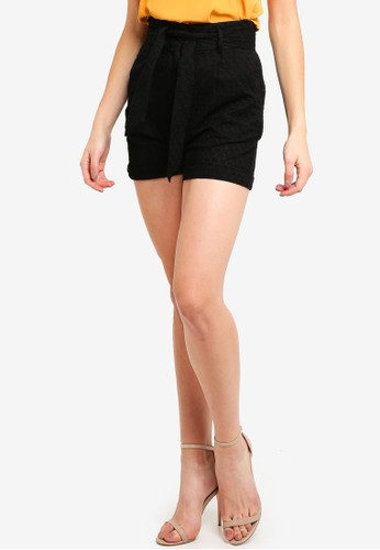 LOST INK black Textured Paperbag Shorts A42E3AA8033AFEGS_1