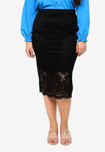 LOST INK PLUS black Plus Size Pencil Skirt In Lace 647D6AAEF8173DGS_1