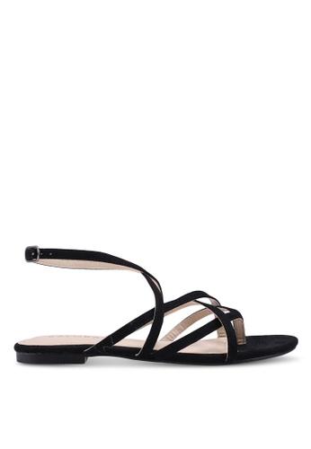 ZALORA 黑色 Strappy Sandals With Ankle Strap 08D3ESH191225DGS_1