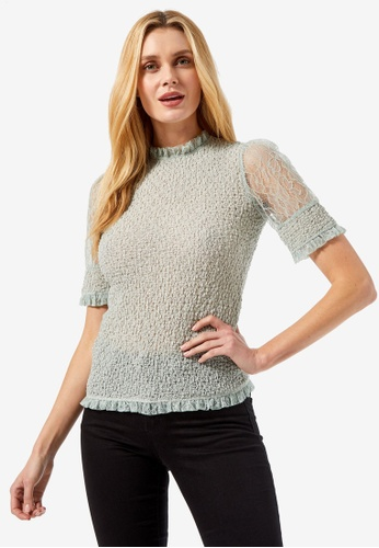 Dorothy Perkins green Sage Lace Puff Sleeve Top C4866AA861FF3DGS_1
