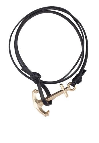 船錨扣esprit 鞋皮革纏繞手環, 飾品配件, 手環