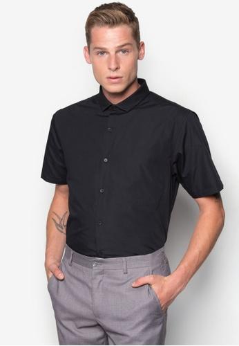 Topman black Black Short Sleeve Slim Smart Shirt TO413AA73DHIMY_1