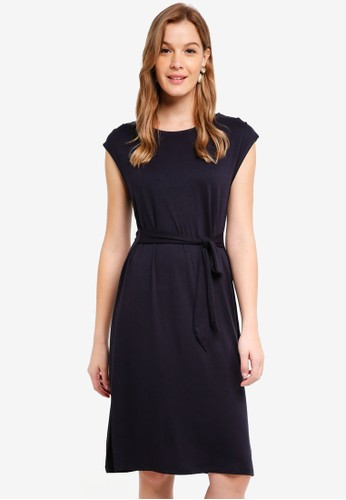 Cotton On navy Fiona Tie Waist Midi Dress DF8C7AA66200E6GS_1