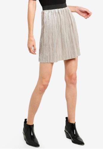 Brave Soul silver Short Length Metallic Plisse Skirt 5A4FAAA05764CEGS_1