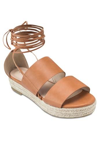 雙寬帶厚底麻編涼esprit地址鞋, 女鞋, 鞋