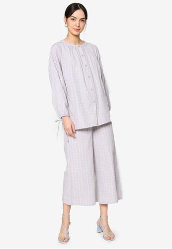ZALIA BASICS grey Striped Top with Pants Set 370F1AA2FA32FAGS_1