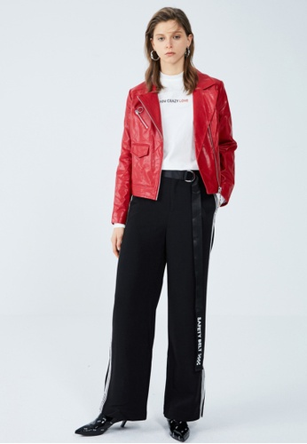Hopeshow red Slogan PU Leather Jacket 5C733AAFD18A48GS_1