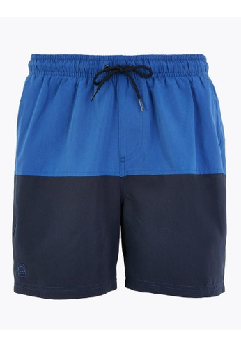 MARKS & SPENCER blue M&S Quick Dry Colour Block Swim Shorts AEC63USBDEF75BGS_1