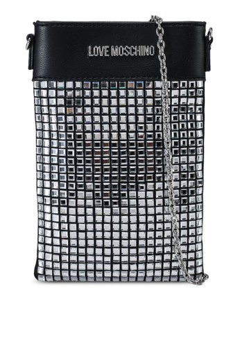 Love Moschino black and silver Metallic Sequined Crossbody Pouch Bag CE538AC249BE8AGS_1