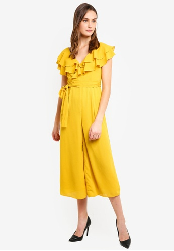 LOST INK yellow Frill Shoulder Wide Leg Jumpsuit 1C502AAD42F40DGS_1
