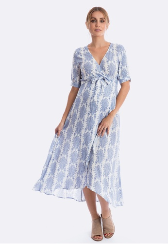Maive & Bo blue Harlow Maternity Dress in Vintage Belle 9E423AABD74260GS_1