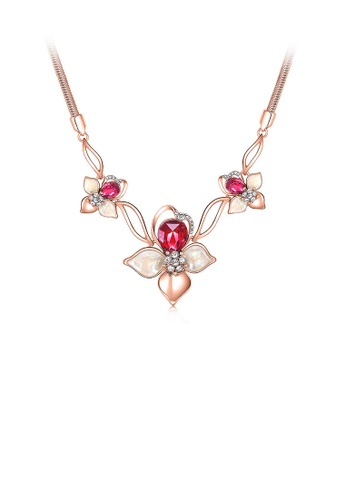 Glamorousky red Fashion Cherry Necklace with Rose Red Austrian Element Crystals B50CCAC7C1ABEAGS_1