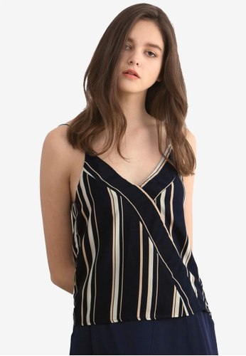 Kodz blue Striped Wrap Front Tank B445DAA990471BGS_1