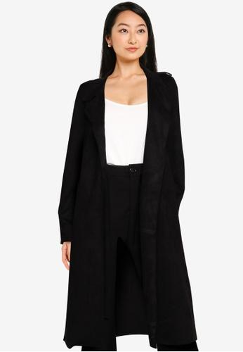 Vero Moda black Boostsandy Long Faux Suede Trench Coat DAAC1AAE50D7ECGS_1