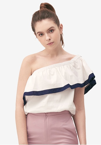 Kodz white Contrast Lined Off-Shoulder Top D8794AA3B3AC4CGS_1
