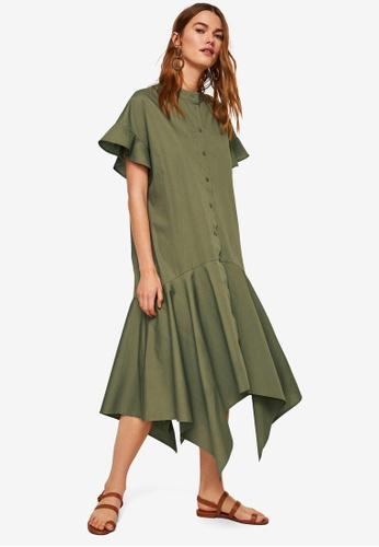 Mango green Asymmetrical Ruffle Dress D8901AA84D159FGS_1