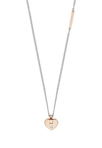 ESPRIT gold ESPRIT [Cheer] Two-Tone Silver & RoseGold Stainless Steel Necklace (42 cm + 3 cm extension) DB09FAC7218345GS_1