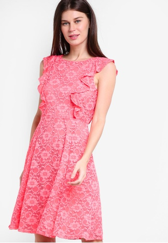 Wallis pink Coral Ruffle Lace Fit And Flare Dress WA800AA69GWGMY_1