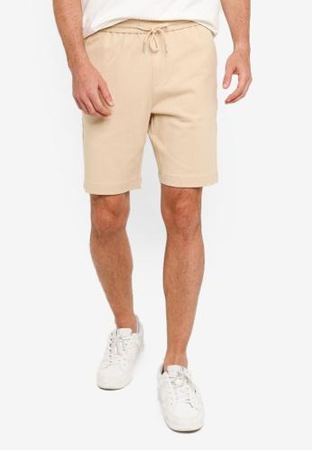 URBAN REVIVO beige Fashion Drawstring Shorts 4E74EAA35932DCGS_1