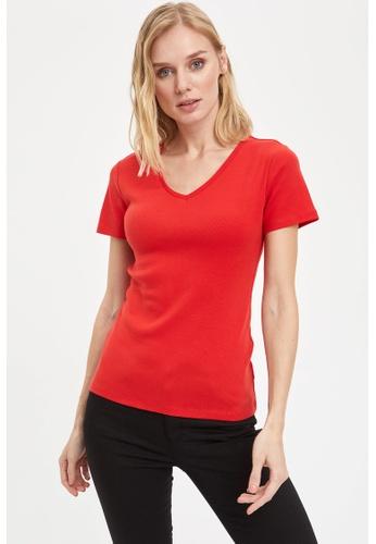 DeFacto red Short Sleeve V-Neck Cotton T-Shirt 0DD08AAEBA1253GS_1