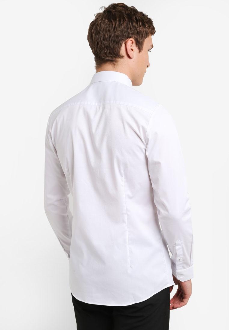 Dobby Menswear White White Shirt Stretch Skinny London Burton 8BnaEqSax