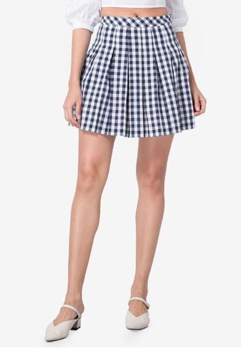 FabAlley blue Gingham Mini Skirt D427BAA25FB605GS_1