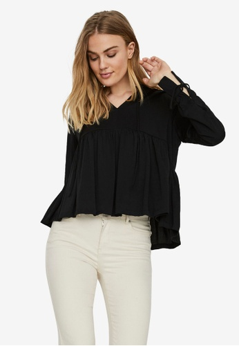 Noisy May black Ayta Long Sleeve Flare Top C8F78AAB4EDE6AGS_1