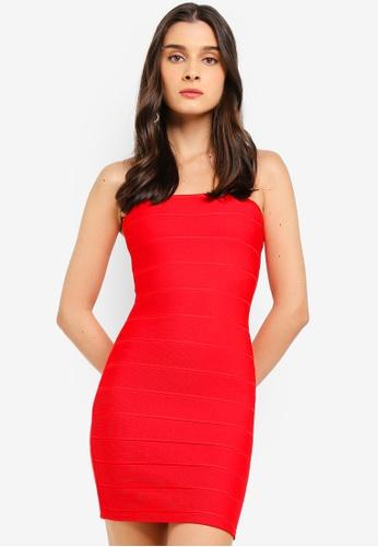 MISSGUIDED red Bandage Bandeau Mini Dress 02A40AAFE267E1GS_1
