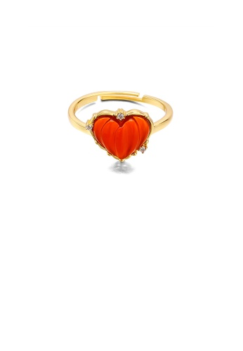 Glamorousky red 925 Sterling Silver Plated Gold Simple Romantic Red Agate Heart-shaped Adjustable Ring with Cubic Zirconia 0FEB2AC01C3ACFGS_1