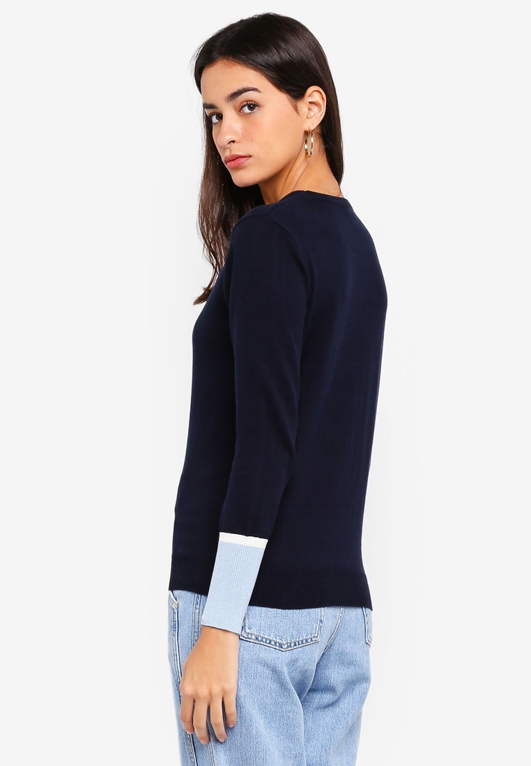Colorblocked Blue White Cuff ZALORA With Navy Light Pullover EFXq0
