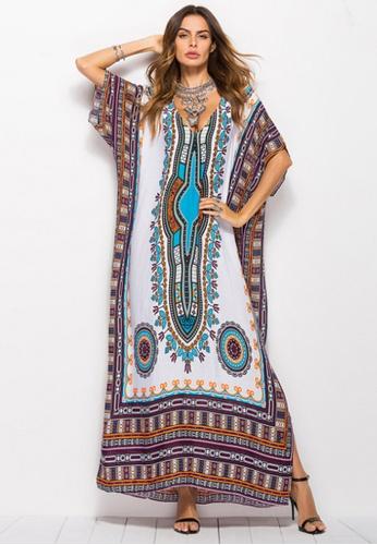 Kings Collection white African Ethnic Print Beach Long Dress (KCCLSP2105) D7B6DAA312DD21GS_1