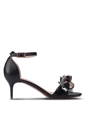 Velvet black Flower Embellished Ankle Strap Heels 51605SHECE202EGS_1