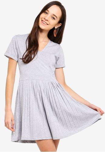 Something Borrowed grey Pleated Mini Dress 947A4AAEB1CBF3GS_1
