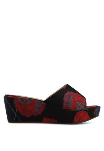 Nose 紅色 Floral Wedge Heel Slides BC34ASH66AF6B0GS_1