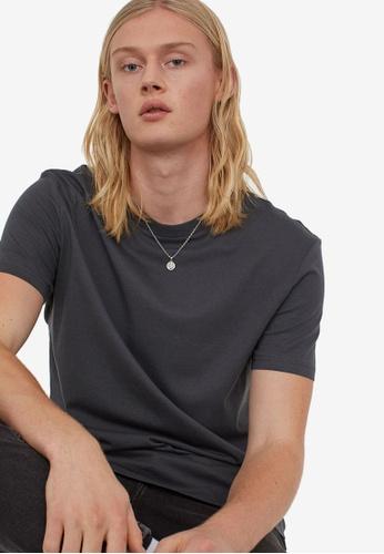 H&M grey Long Fit T-Shirt 9C6E0AAF6D2881GS_1
