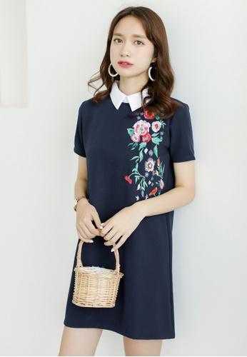 Shopsfashion navy Embroidery Shirt Collar Shift Dress SH656AA0FDKDSG_1