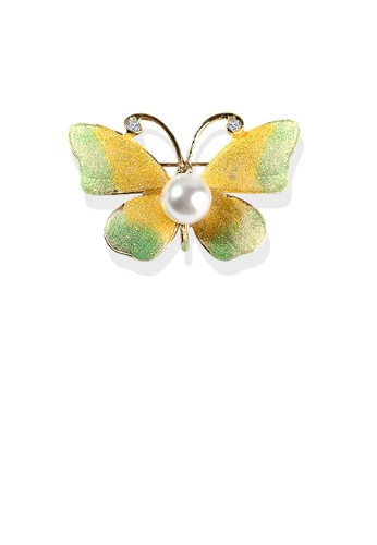 Glamorousky white Fashion and Elegant Plated Gold Enamel Green and Yellow Butterfly Imitation Pearl Brooch with Cubic Zirconia 2668EAC90C6C59GS_1