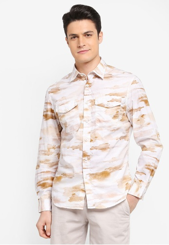 MANGO Man white Regular-Fit Camouflage Print Shirt 7982CAA922BF13GS_1