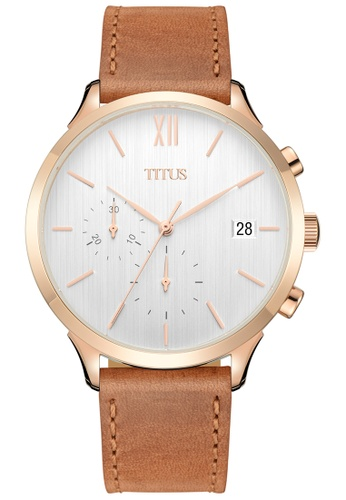 Solvil et Titus brown and silver and gold Interlude Unisex Chronograph Quartz Watch In White Dial And Light Brown Leather Strap F5909AC0B65EB2GS_1