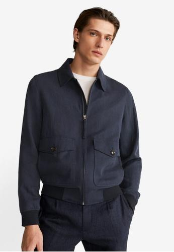 MANGO Man blue Lyocell Linen Jacket 5A844AA46ADC9BGS_1