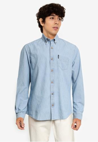 Ben Sherman blue Chambray Shirt 19D7FAA36C1066GS_1