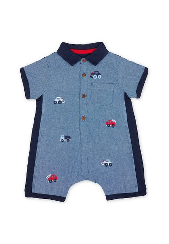 Mothercare navy Mothercare Baby embroidered chambray romper - Terusan Bayi Multicolour 1D673KAF6CA9C7GS_1