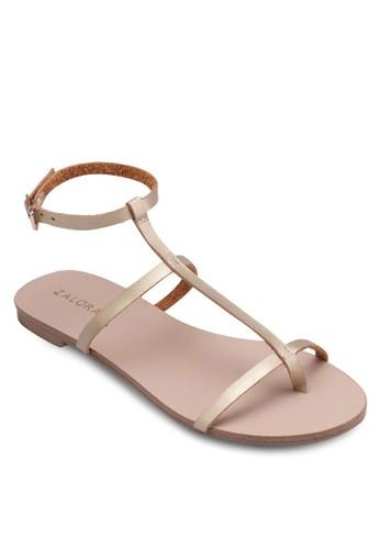 T 字細帶繞踝平底涼鞋, 女zalora鞋子評價鞋, 鞋